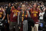 Miami Heat v Cleveland Cavaliers: Shaun Rogers, Drew Carey and Bernie Kosar Photographic Print by David Liam Kyle