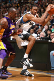 Los Angeles Lakers v Minnesota Timberwolves: Wesley Johnson and Kobe Bryant Photographic Print by David Sherman