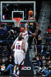 Indiana Pacers v Atlanta Hawks: Josh Smith and Roy Hibbert Photographic Print by Scott Cunningham