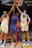Detroit Pistons v Golden State Warriors: Andris Biedrins, Vladimir Radmanovic and Ben Wallace Photographic Print by Rocky Widner