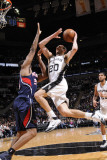 Atlanta Hawks v San Antonio Spurs: Manu Ginobili and Jason Collins Photographic Print by D. Clarke Evans