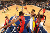 Toronto Raptors v Indiana Pacers: Danny Granger and Ed Davis Photographic Print by Ron Hoskins