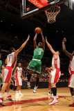 Boston Celtics v Toronto Raptors: Marquis Daniels andrea Bargnani and Linas Kleiza Photographic Print by Ron Turenne