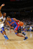 Detroit Pistons v Golden State Warriors: Tracy McGrady and Dorell Wright Photographic Print by Rocky Widner