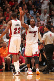 Washington Wizards v Miami Heat: James Jones and Dwyane Wade Photographic Print by Victor Baldizon