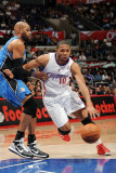 Orlando Magic v Los Angeles Clippers: Eric Gordon and Vince Carter Photographic Print by Noah Graham
