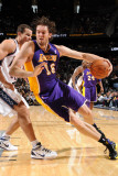 Los Angeles Lakers v New Jersey Nets: Pau Gasol and Kris Humphries Photographic Print by Andrew Bernstein