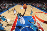 New Orleans Hornets v Philadelphia 76ers: Jrue Holliday and David West Fotografie-Druck von David Dow