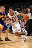 Los Angeles Lakers v New Jersey Nets: Devin Harris and Steve Blake Photographic Print by Andrew Bernstein