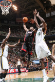 Miami Heat v Utah Jazz: Dwyane Wade and Francisco Elson Photographic Print by Melissa Majchrzak
