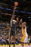 Indiana Pacers v Los Angeles Lakers: Roy Hibbert and Lamar Odom Photographic Print by Noah Graham