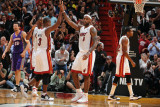 Phoenix Suns v Miami Heat: Dwyane Wade and LeBron James Photographic Print by Andrew Bernstein