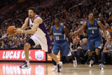 Minnesota Timberwolves v Phoenix Suns: Hedo Turkoglu, Jonny Flynn and Wesley Johnson Photographic Print by Christian Petersen