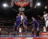Sacramento Kings v Los Angeles Clippers: Blake Griffin, Samuel Dalembert and Beno Udrih Photographic Print by Noah Graham