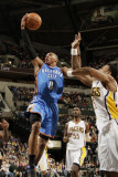 Oklahoma City Thunder v Indiana Pacers: Russell Westbrook, Brandon Rush and Roy Hibbert Photographie par Ron Hoskins