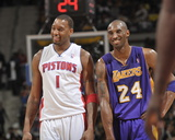 Los Angeles Lakers v Detroit Pistons: Tracy McGrady and Kobe Bryant Photographic Print by Allen Einstein