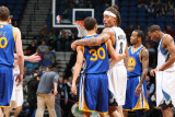 Golden State Warriors v Minnesota Timberwolves: Stephen Curry and Michael Beasley Photographic Print by David Sherman