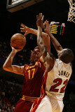 Cleveland Cavaliers v Miami Heat: Anderson Varejao and James Jones Photographic Print by Issac Baldizon