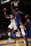 New York Knicks v Washington Wizards: Andray Blatche and Ronny Turiaf Photographic Print by Ned Dishman
