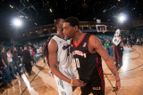 Utah Flash v Reno Bighorns: Patrick Ewing and  Jr., Orien Greene Photographic Print by David Calvert