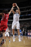 Houston Rockets v Dallas Mavericks: Dirk Nowitzki and Luis Scola Photographic Print by Glenn James