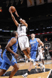 Orlando Magic v San Antonio Spurs: Tony Parker, Michael Piertrus and Marcin Gortat Photographic Print by D. Clarke Evans