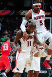 New Jersey Nets v Atlanta Hawks: Josh Smith and Jamal Crawford Photographic Print by Scott Cunningham