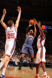 Charlotte Bobcats v New York Knicks: D.J Augustin, Timofey Mozgov and Toney Douglas Photographic Print by Nathaniel S. Butler