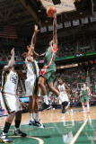 Milwaukee Bucks v Utah Jazz: Brandon Jennings and Earl Watson Photographic Print by Melissa Majchrzak