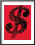 Dollar Sign, c.1981 (black on red) Posters by Andy Warhol