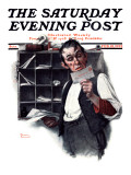 """Sorting the Mail"" Saturday Evening Post Cover, February 18,1922 Giclee Print by Norman Rockwell"