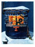 """Newsstand in the Snow"", December 20,1941 Giclee Print by Norman Rockwell"