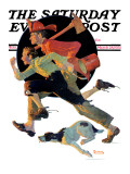 """To the Rescue"" Saturday Evening Post Cover, March 28,1931 Giclée-Druck von Norman Rockwell"