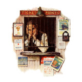 """Ticket Agent"", April 24,1937 Giclee Print by Norman Rockwell"