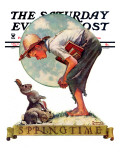 """Springtime, 1935 boy with bunny"" Saturday Evening Post Cover, April 27,1935 Giclee Print by Norman Rockwell"