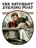 """Mom's Helper"" or ""Peeling Potatoes"" Saturday Evening Post Cover, January 29,1921 Giclee Print by Norman Rockwell"