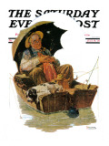 """Gone Fishing"" Saturday Evening Post Cover, July 19,1930 Reproduction procédé giclée par Norman Rockwell"