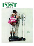 """Jockey Weighing In"" Saturday Evening Post Cover, June 28,1958 Reproduction procédé giclée par Norman Rockwell"
