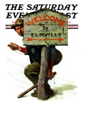 """Welcome to Elmville"" Saturday Evening Post Cover, April 20,1929 Giclee Print by Norman Rockwell"