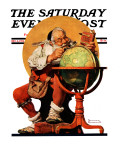 """Santa at the Globe"" Saturday Evening Post Cover, December 4,1926 Reproduction procédé giclée par Norman Rockwell"