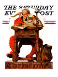 """Santa at His Desk"" Saturday Evening Post Cover, December 21,1935 ジクレープリント : ノーマン・ロックウェル"