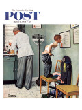 """Before the Shot"" or ""At the Doctor's"" Saturday Evening Post Cover, March 15,1958 Giclée-Druck von Norman Rockwell"