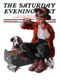 """Sick Puppy"" Saturday Evening Post Cover, March 10,1923 Reproduction procédé giclée par Norman Rockwell"