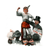 """Circus Strongman"", June 3,1916 Giclee Print by Norman Rockwell"