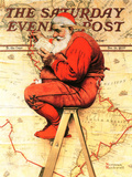 """Santa at the Map"" Saturday Evening Post Cover, December 16,1939 Reproduction procédé giclée par Norman Rockwell"