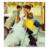 """Soda Jerk"", August 22,1953 Reproduction procédé giclée par Norman Rockwell"