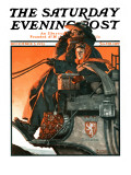 """""""London Coach"""" Saturday Evening Post Cover, December 5,1925 ジクレープリント : ノーマン・ロックウェル"""
