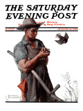"""Farmer and the Bird"" or ""Harvest Time"" Saturday Evening Post Cover, August 18,1923 Giclee Print by Norman Rockwell"