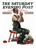 """Threading the Needle"" Saturday Evening Post Cover, April 8,1922 Giclee Print by Norman Rockwell"