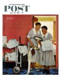 """Just Married"" (hotel maids and confetti) Saturday Evening Post Cover, June 29,1957 Giclee Print by Norman Rockwell"